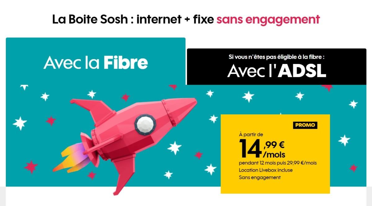🔥 Bon plan : 14,99 euros par mois pour la fibre Orange (ou ADSL) chez Sosh jusqu'à mardi !