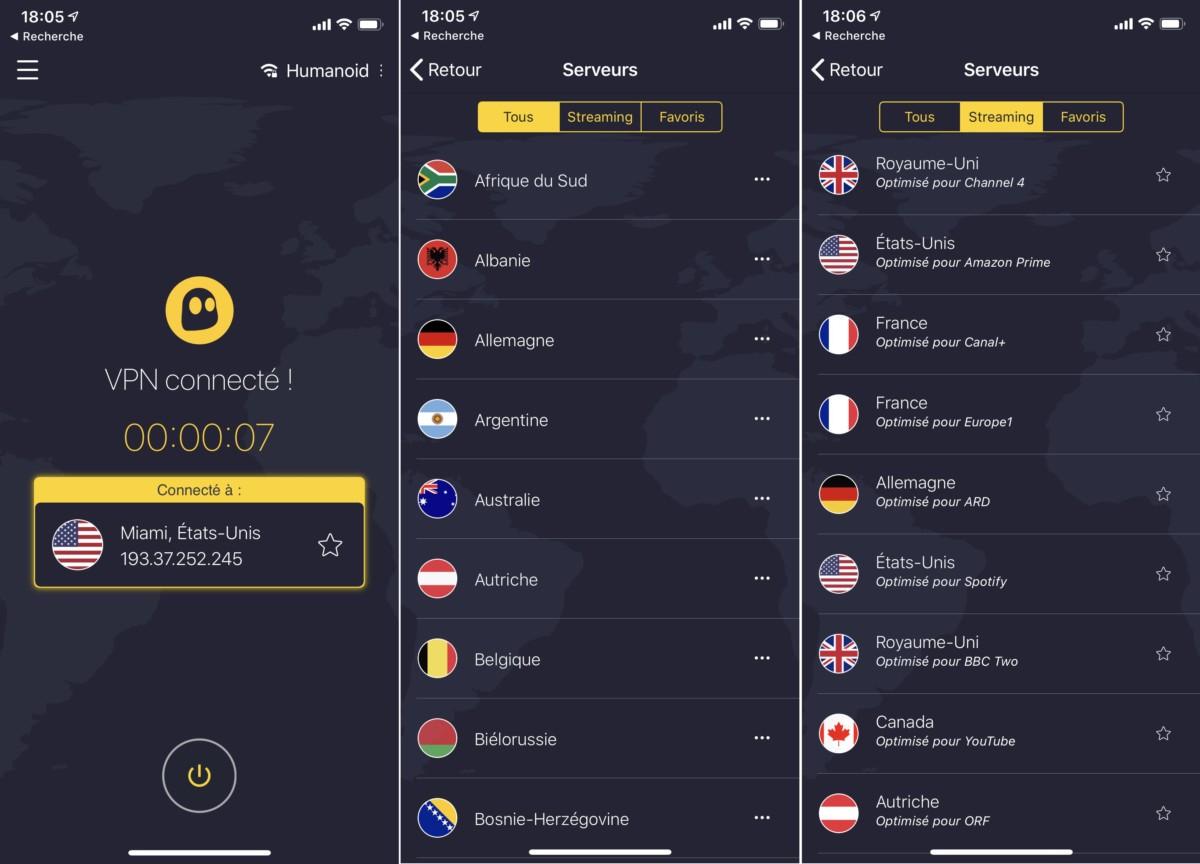 Cyberghost est également disponible sur mobile, ici sur iOS.