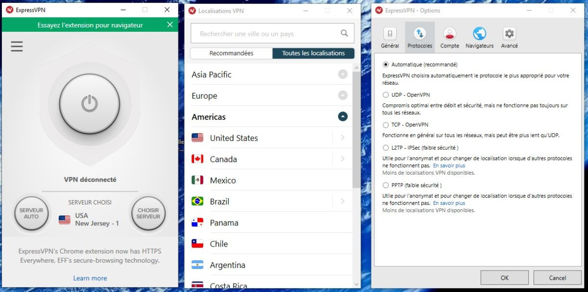 ExpressVPN liste des serveurs et options