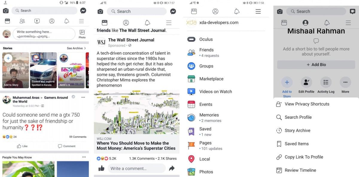 Cette interface blanche avait été récemment déployée sur la version Android de Facebook