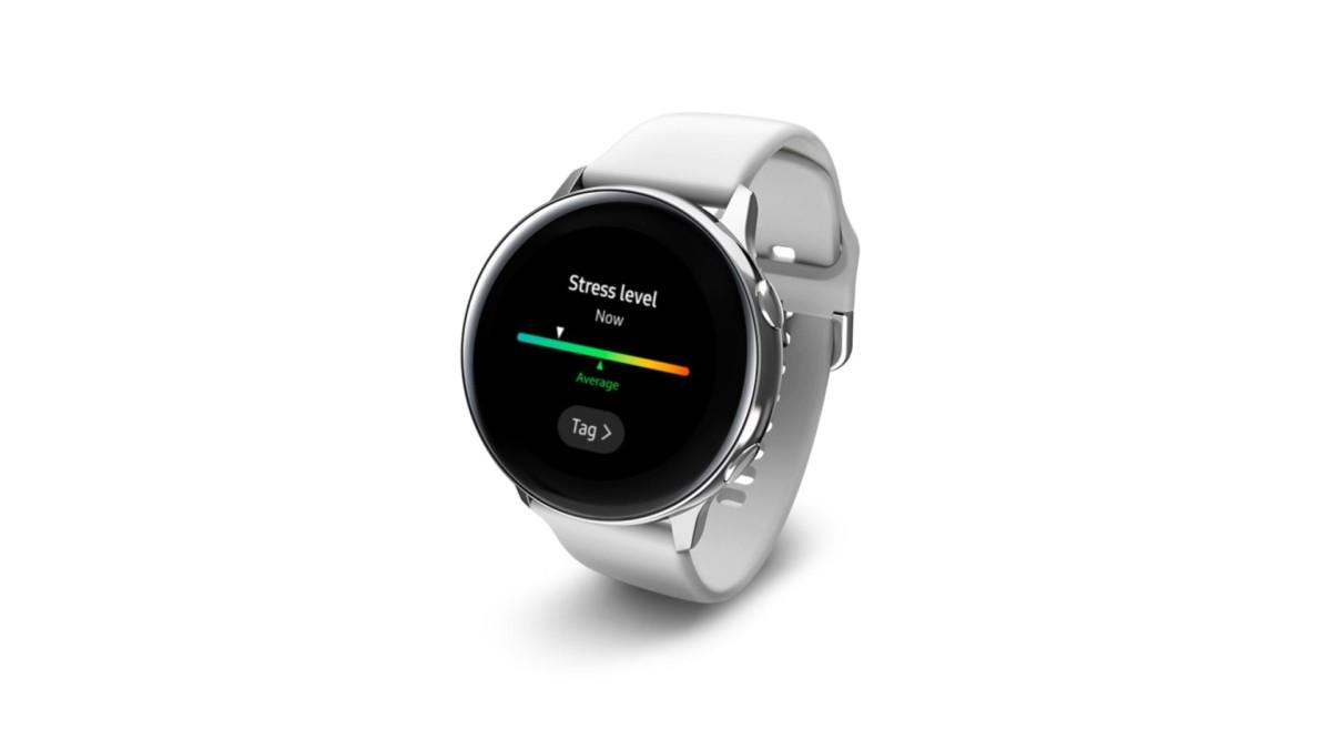 Grâce à ses capteurs, la Samsung Galaxy Watch Active peut identifier les montées de stress.