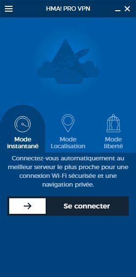 HideMyAss client interface et connexion