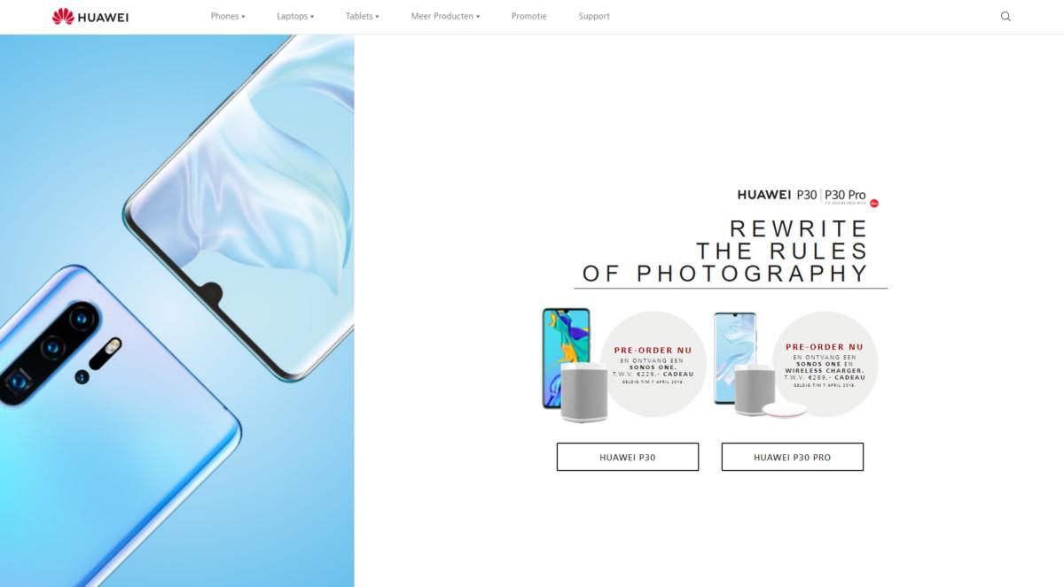 Capture d'écran réalisée sur le site de Huawei Pays-Bas.