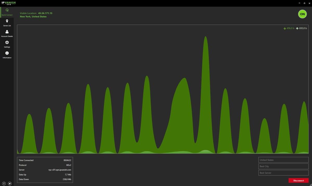 IpVanish interface données