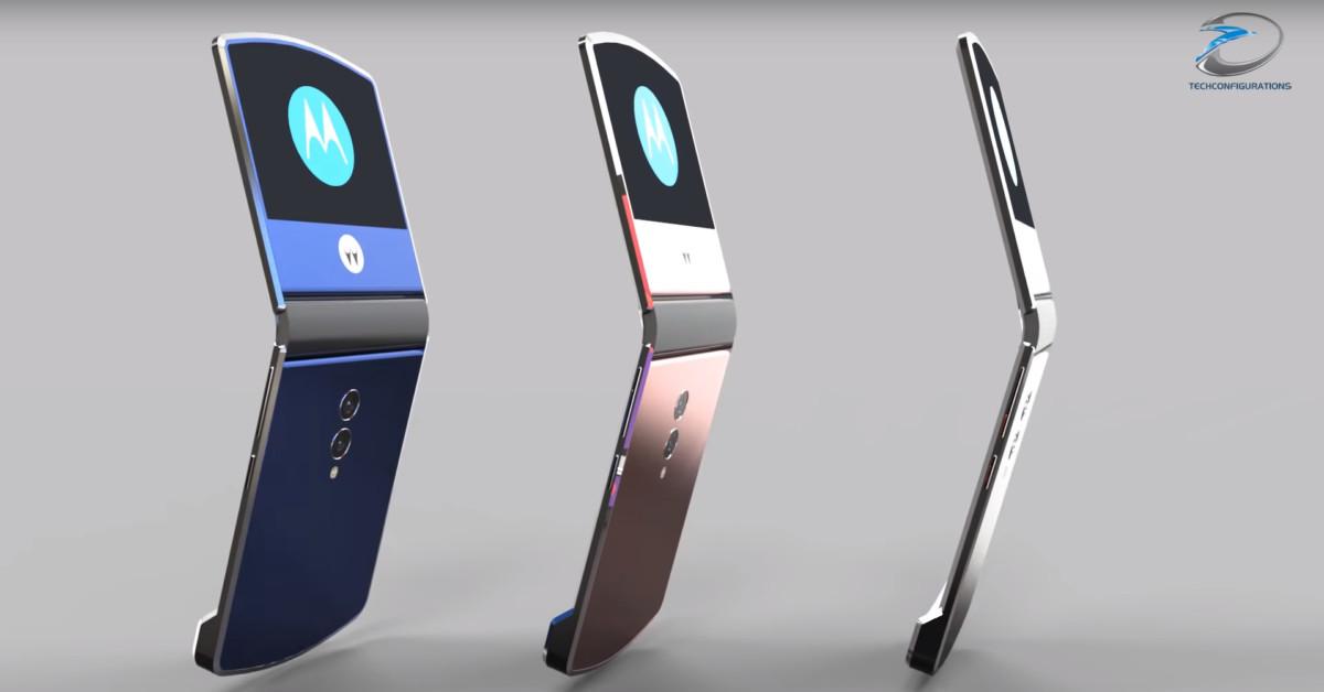 Vue d'artiste du smartphone pliable de Motorola. (Image : TechConfigurations).
