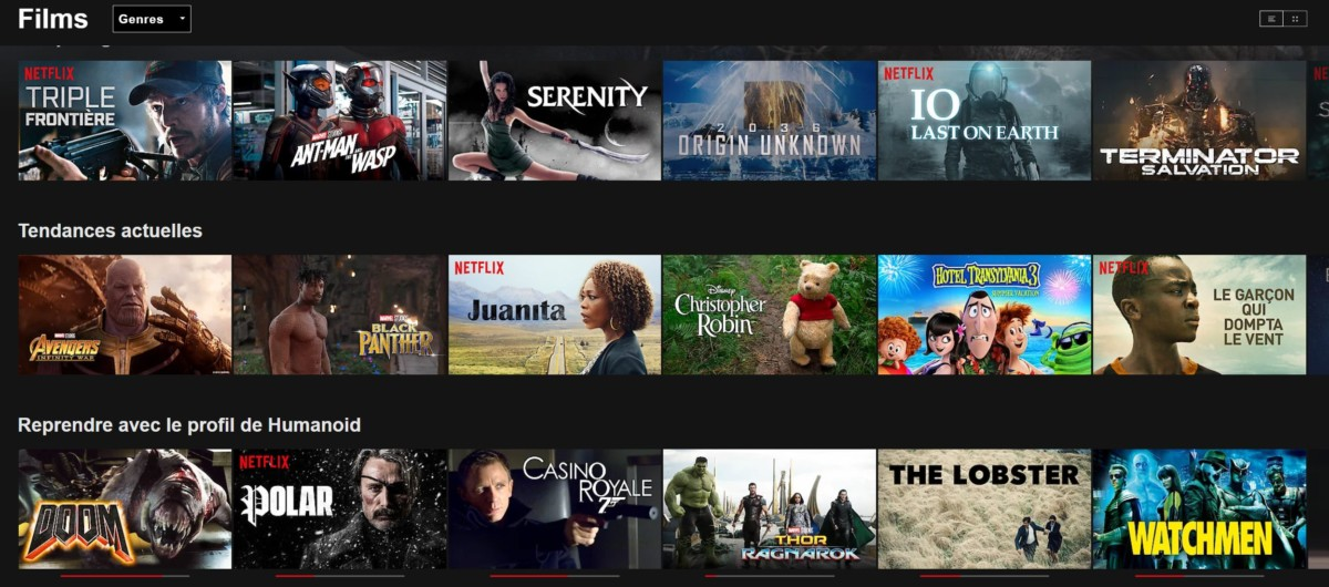 Voici la liste des films qu'il est possible de voir sur le catalogue américain de Netflix.
