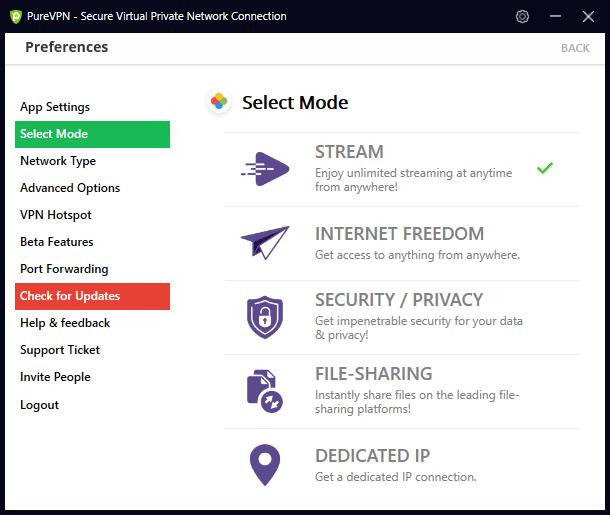 Modes de connexion PureVPN
