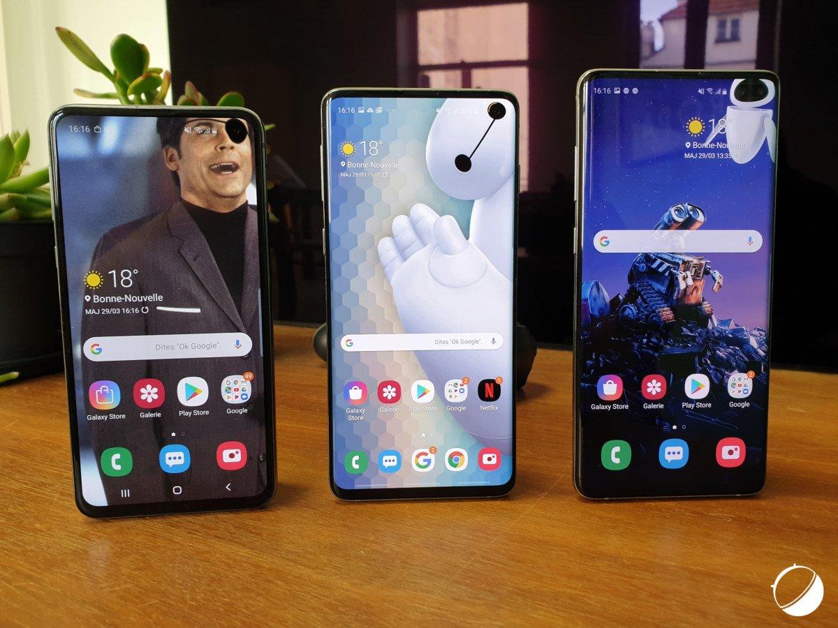 Les Galaxy S10 de Samsung.