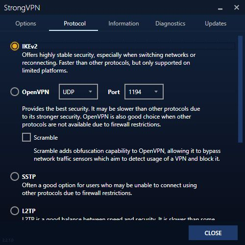 Liste des options et client StrongVPN