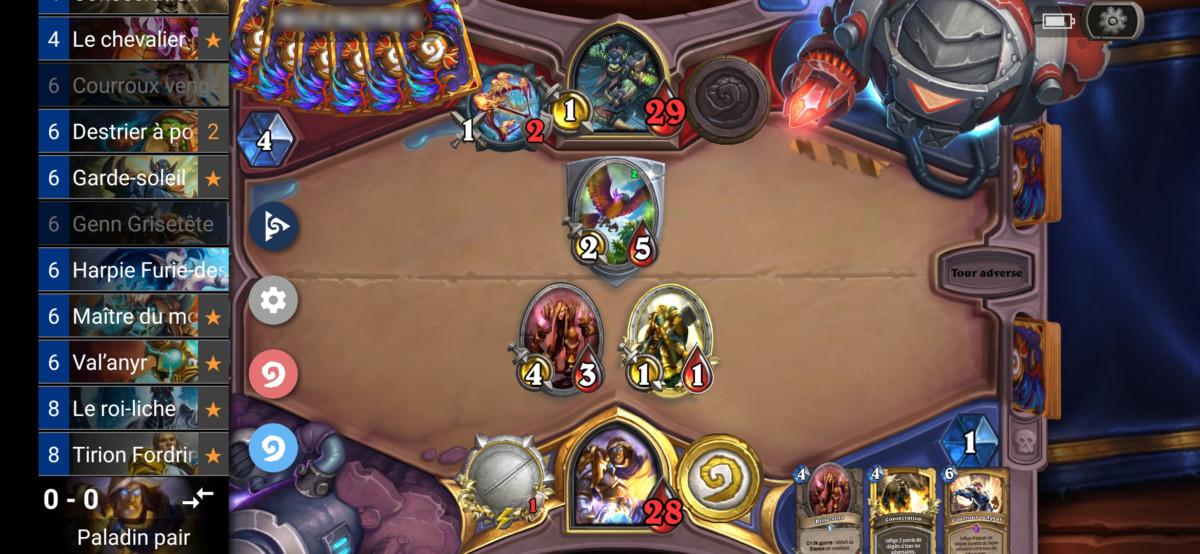 L'application permet de voir les cartes encore dans votre deck Hearthstone