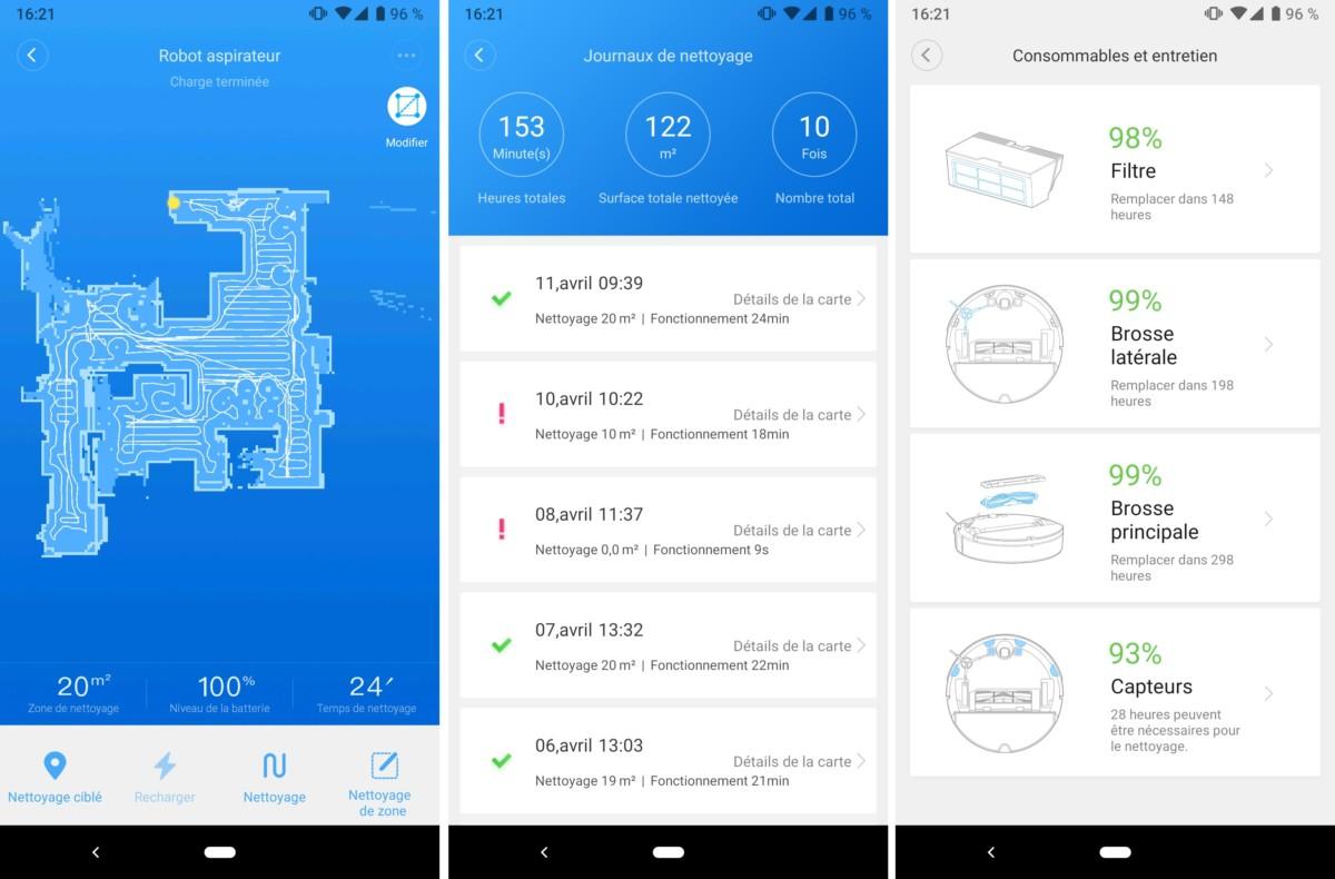 Carte du logement, suivi en temps réel, journal de nettoyage ou état des filtres sont quelques-unes des fonctionnalités proposées par l'application Xiaomi Home, qui contrôle le RoborockS50.