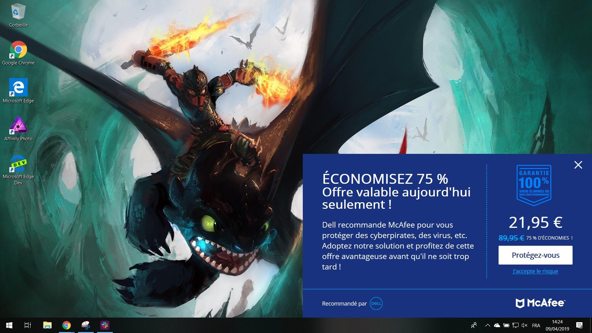 La publicité de McAfee sur le Dell XPS13