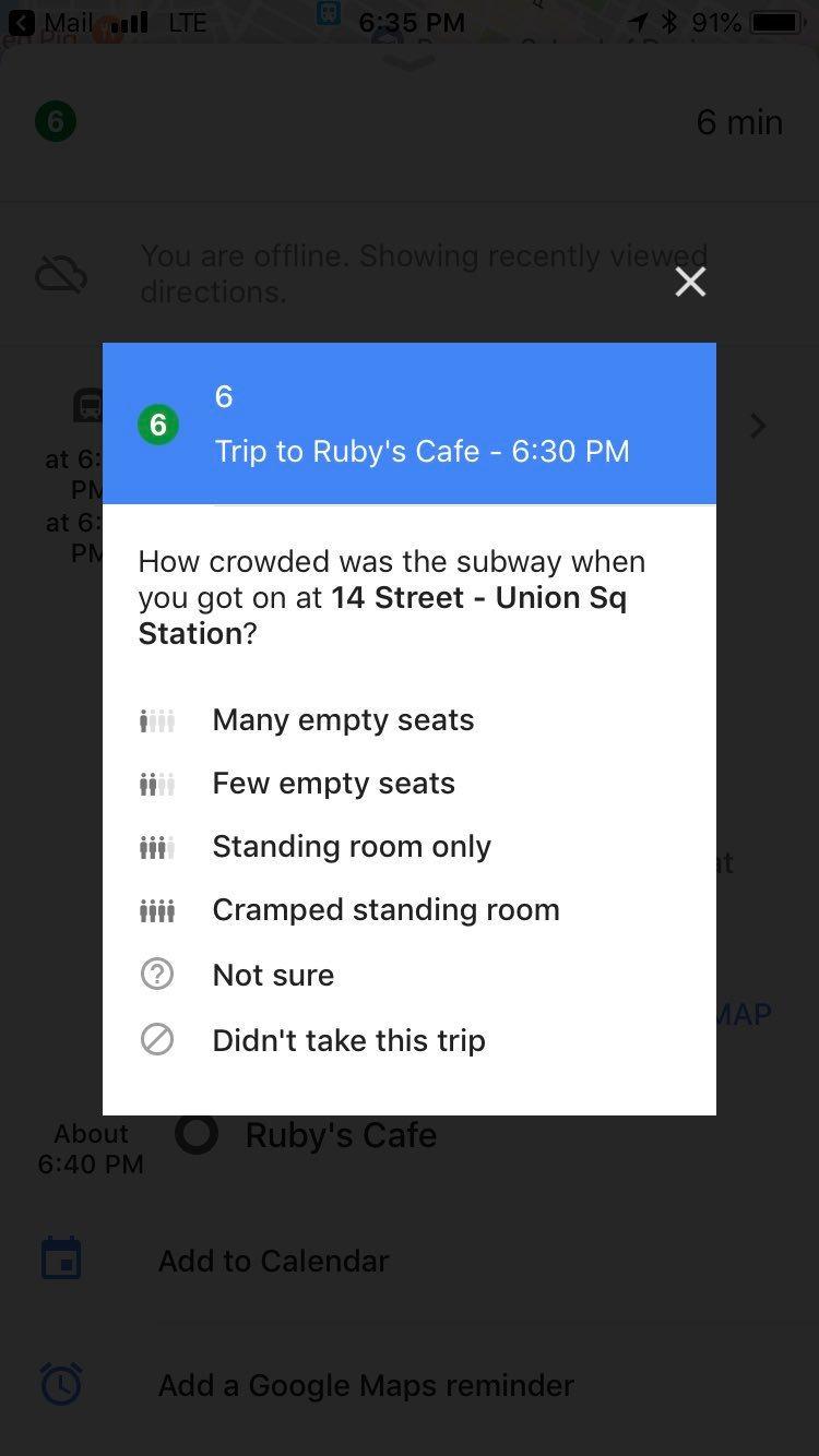 google maps veut maintenant savoir s 39 il reste des places dans le m tro frandroid. Black Bedroom Furniture Sets. Home Design Ideas