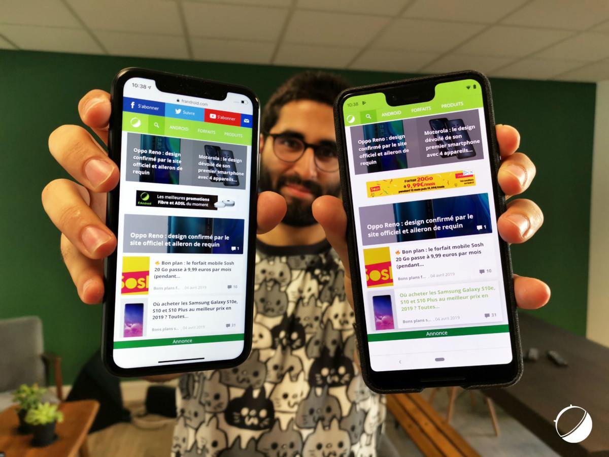 L'iPhone Xs et le Google Pixel 3 XL
