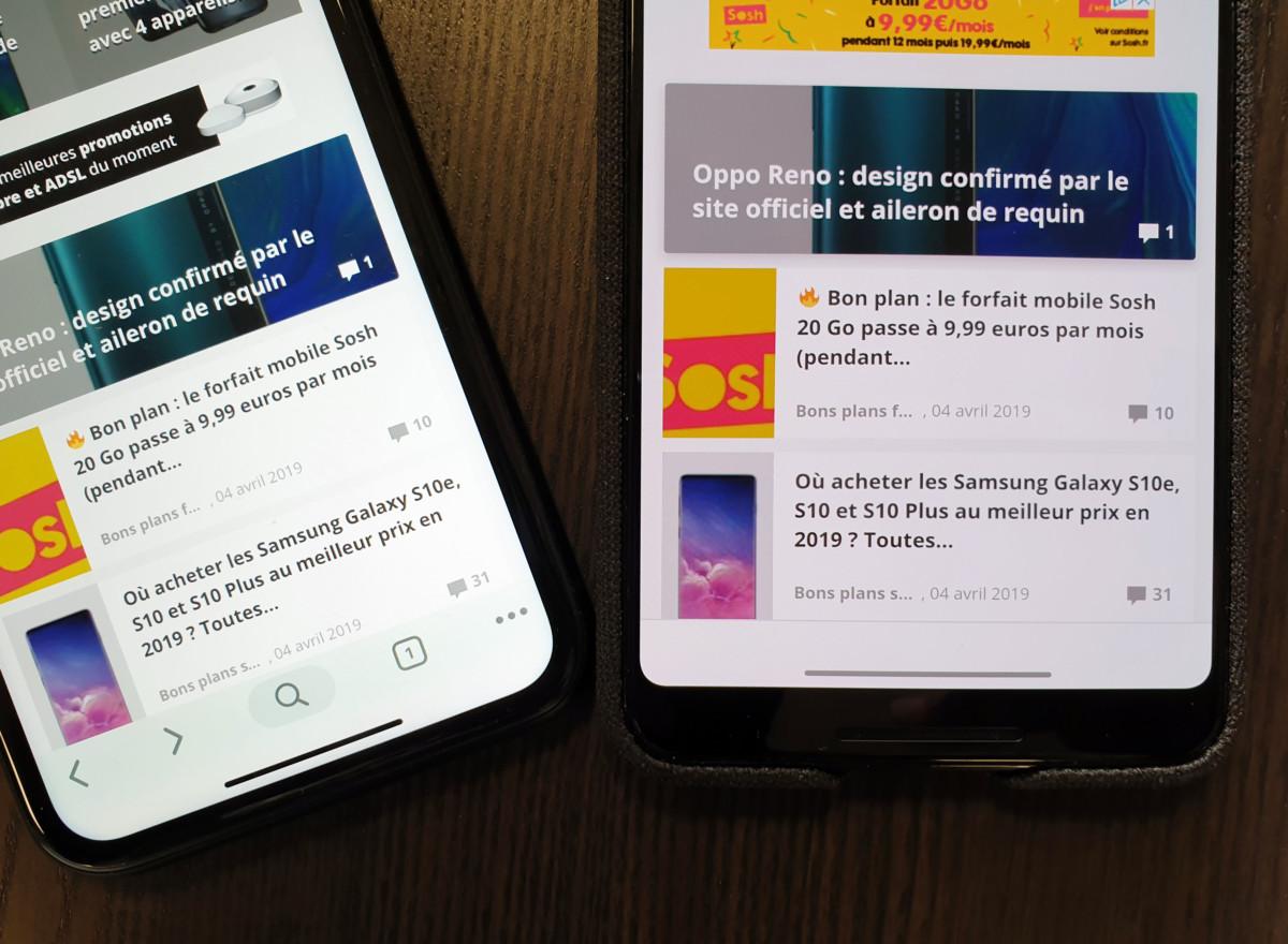 La barre du Google Pixel 3 XL sous Android 10 Q, à droite, fait penser à celle de l'iPhone XS, à gauche.