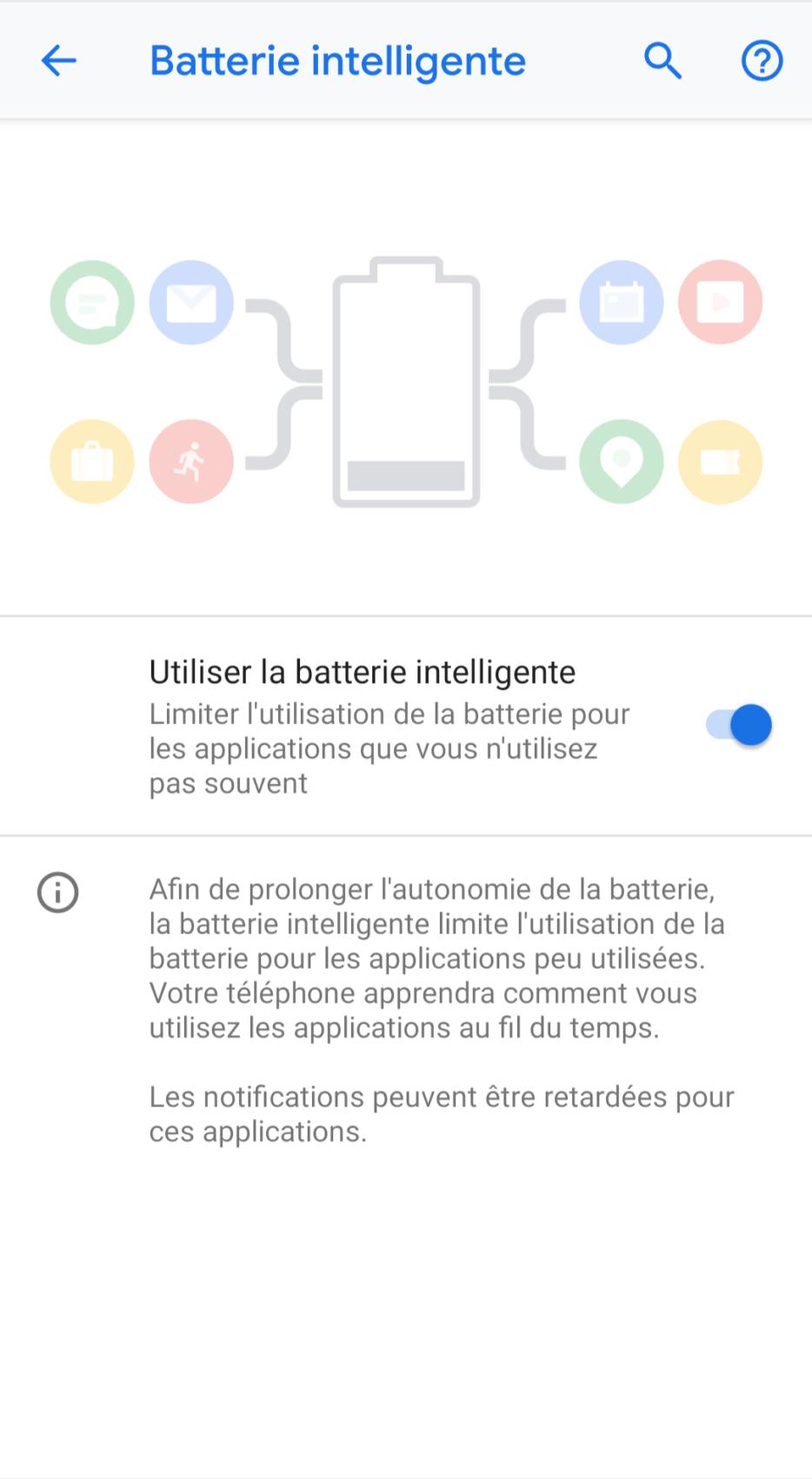 Il est possible de désactiver la fonction Batterie intelligente.