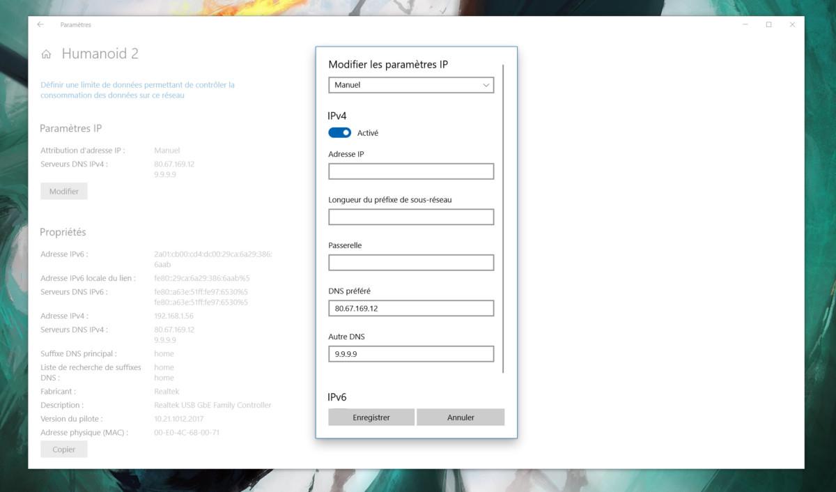 Windows 10 ethernet parametres