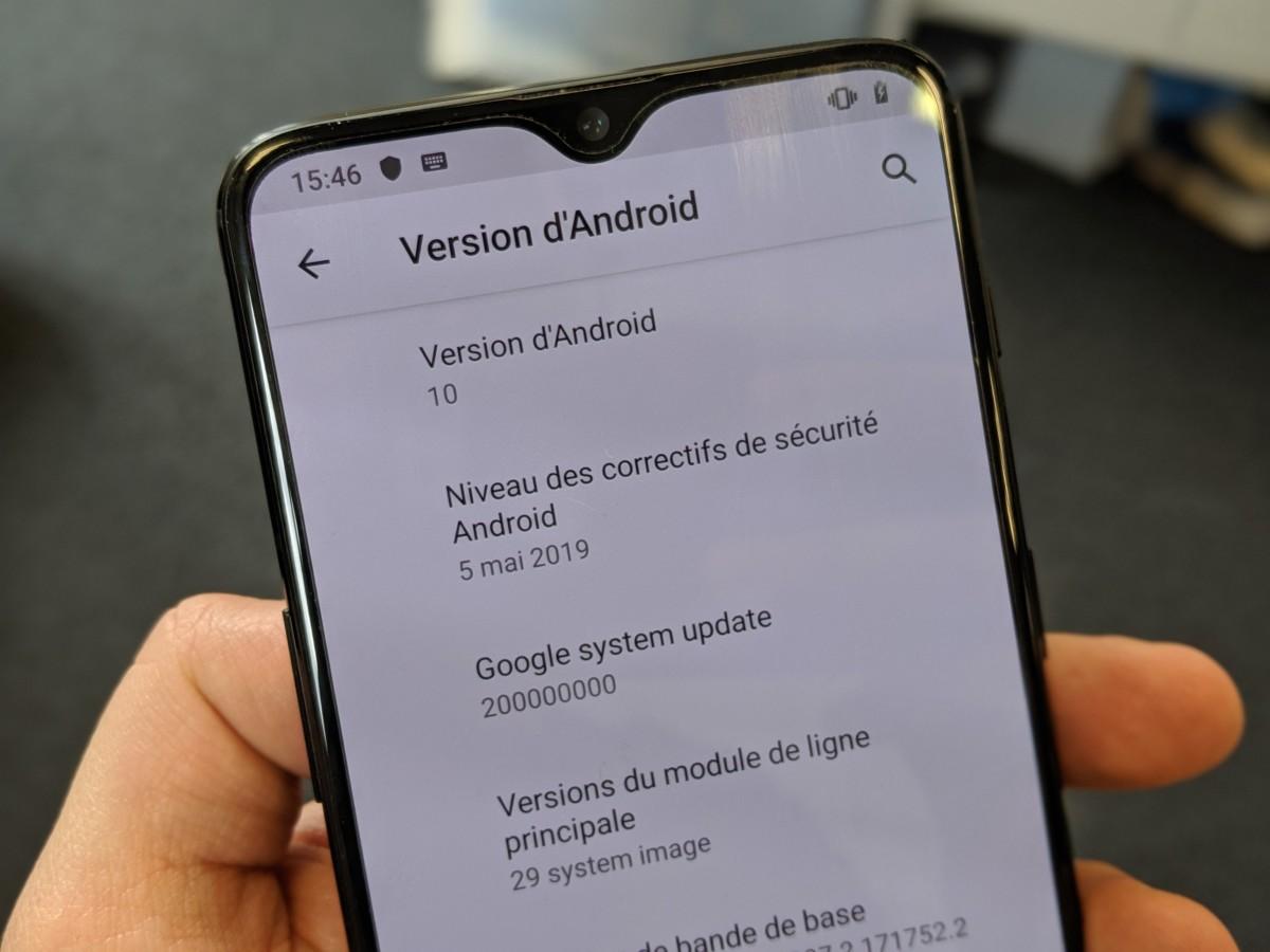 Android 10 Q sur un OnePlus 6T