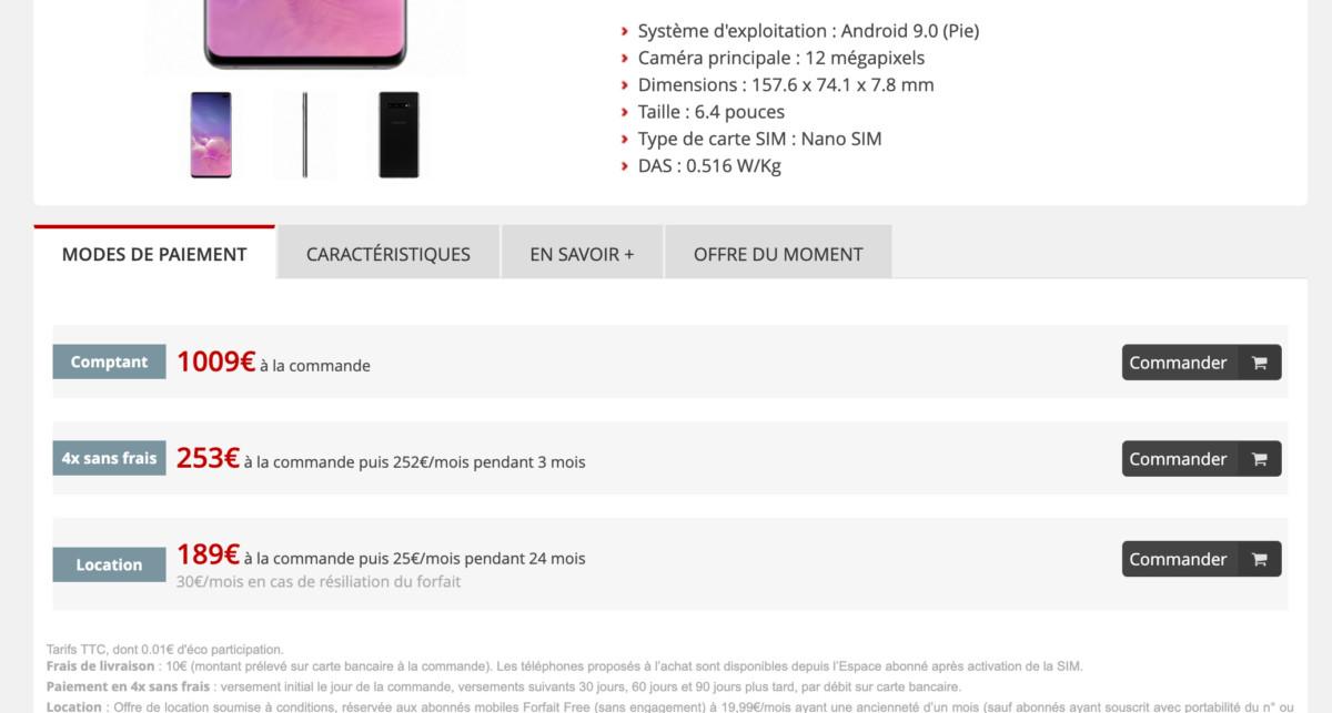 Exemple avec le Samsung Galaxy S10