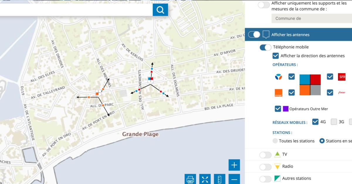 Sur Cartoradio, vous pouvez vérifier la présence des antennes 4G (LTE) près de chez vous