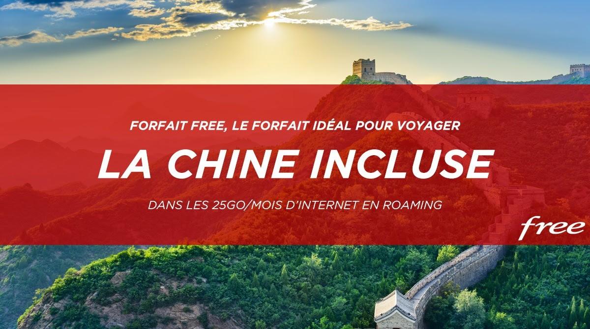 La Chine rejoint les pays inclus (25 Go/mois) au forfait Free Mobile