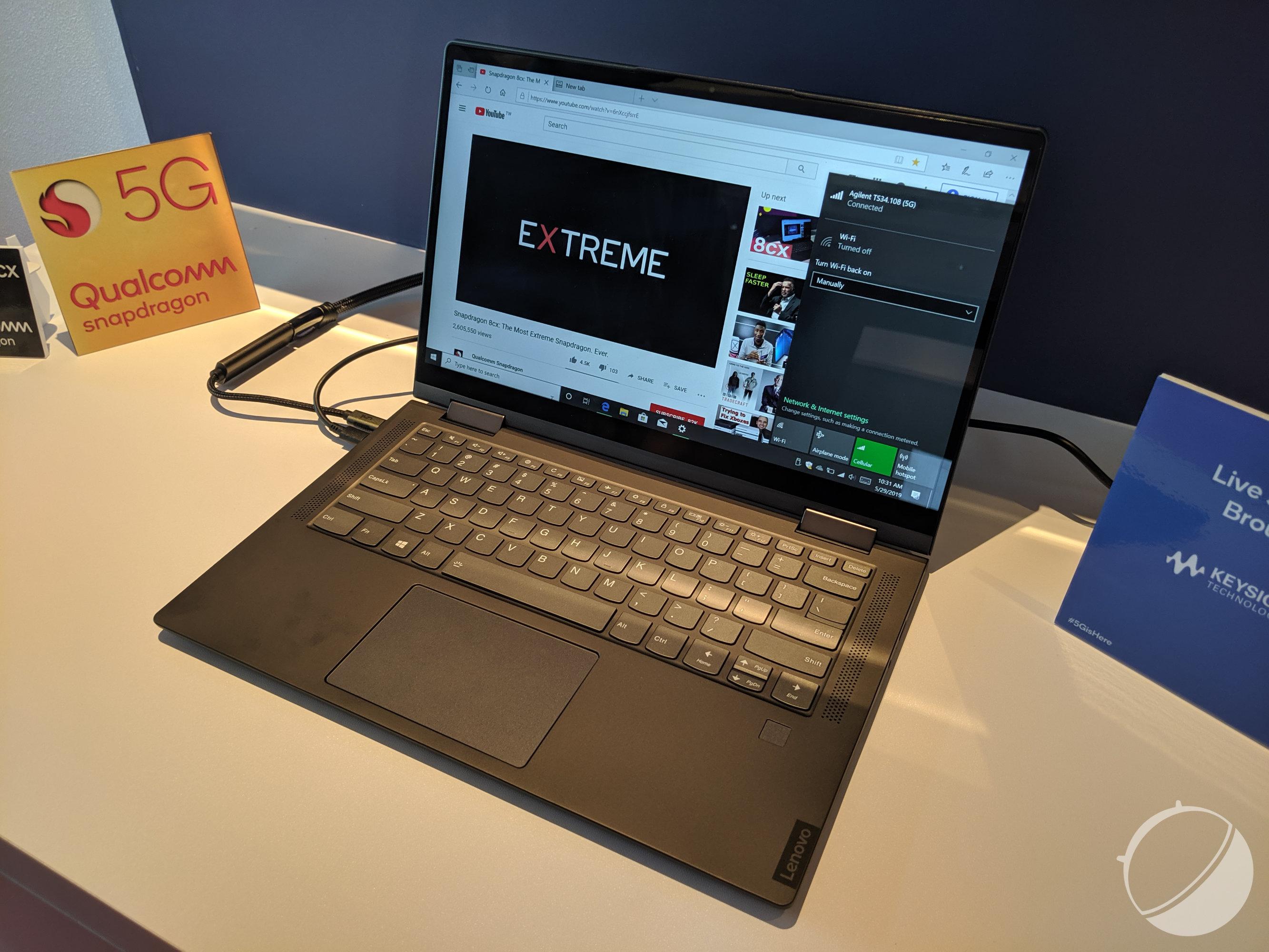 Au salon très orienté PC du Computex et face à AMD et Intel, Qualcomm voulait montrer qu'il sera désormais l'un des acteurs forts de ce marché. La firme a donc fait la démonstration du premier PC portable 5G développé avec Lenovo, que l'on a pu approcher et voir tourner.