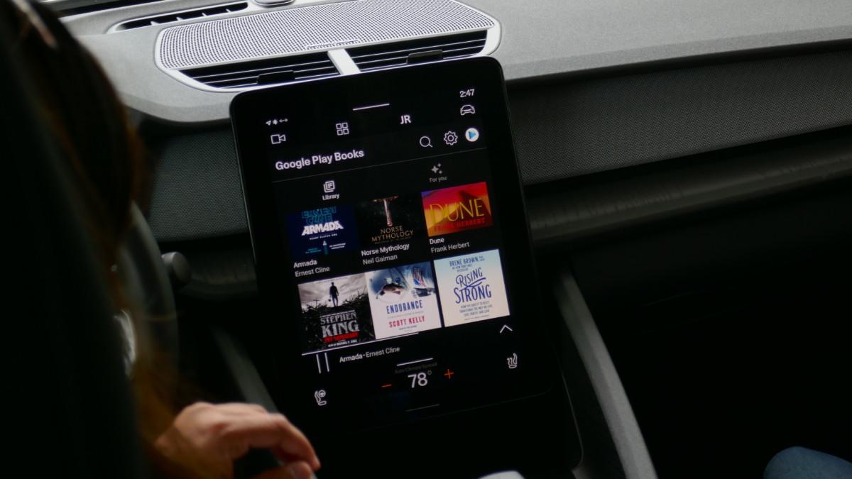 L'application Google Play Books sur Android Automotive