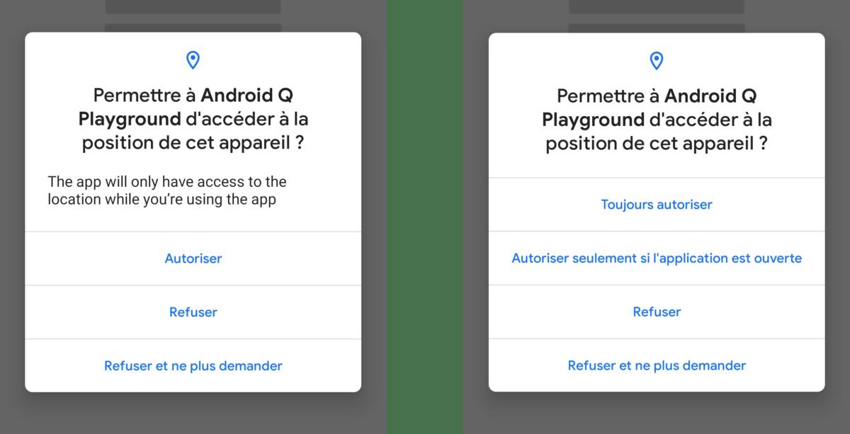 Sur Android 10 Q, l'accès à la position GPS en arrière-plan nécessitera une validation