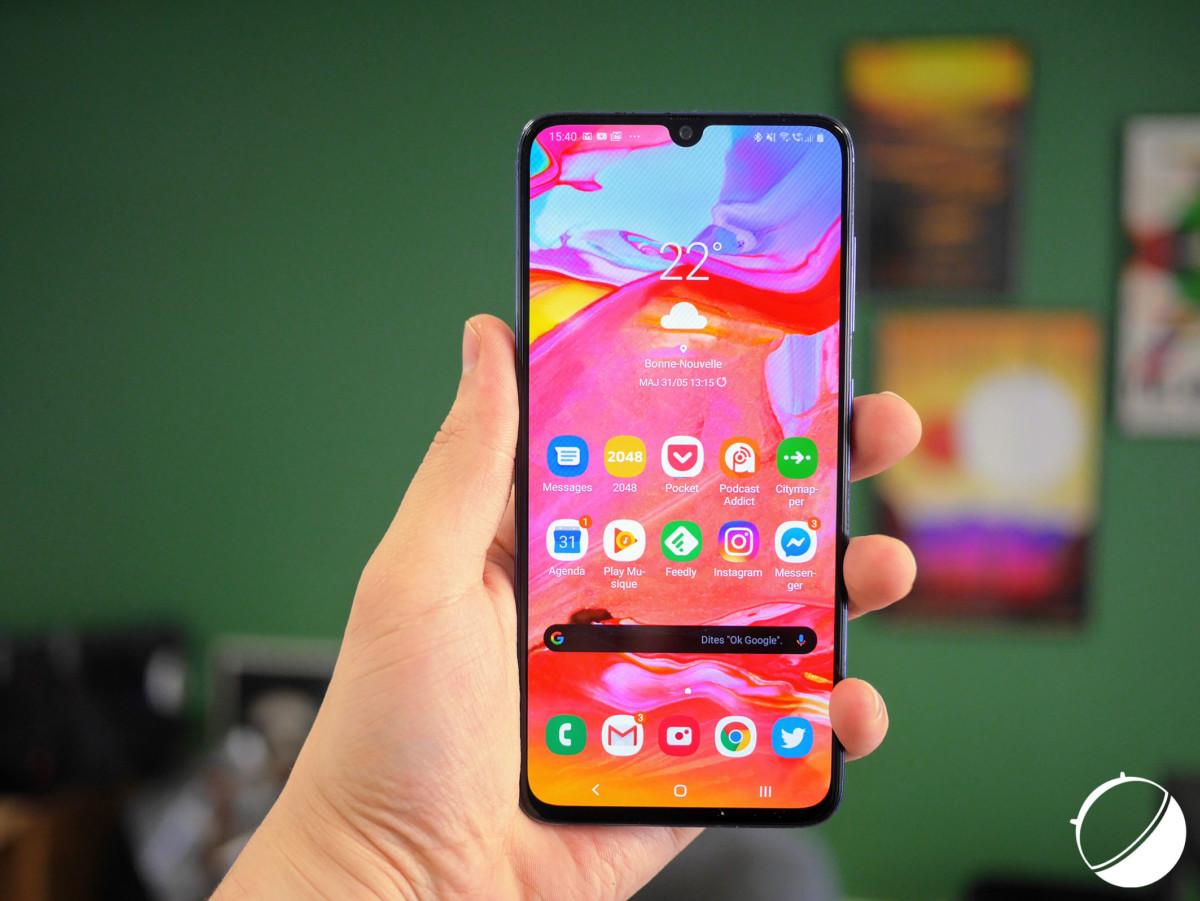 L'écran du Samsung Galaxy A70