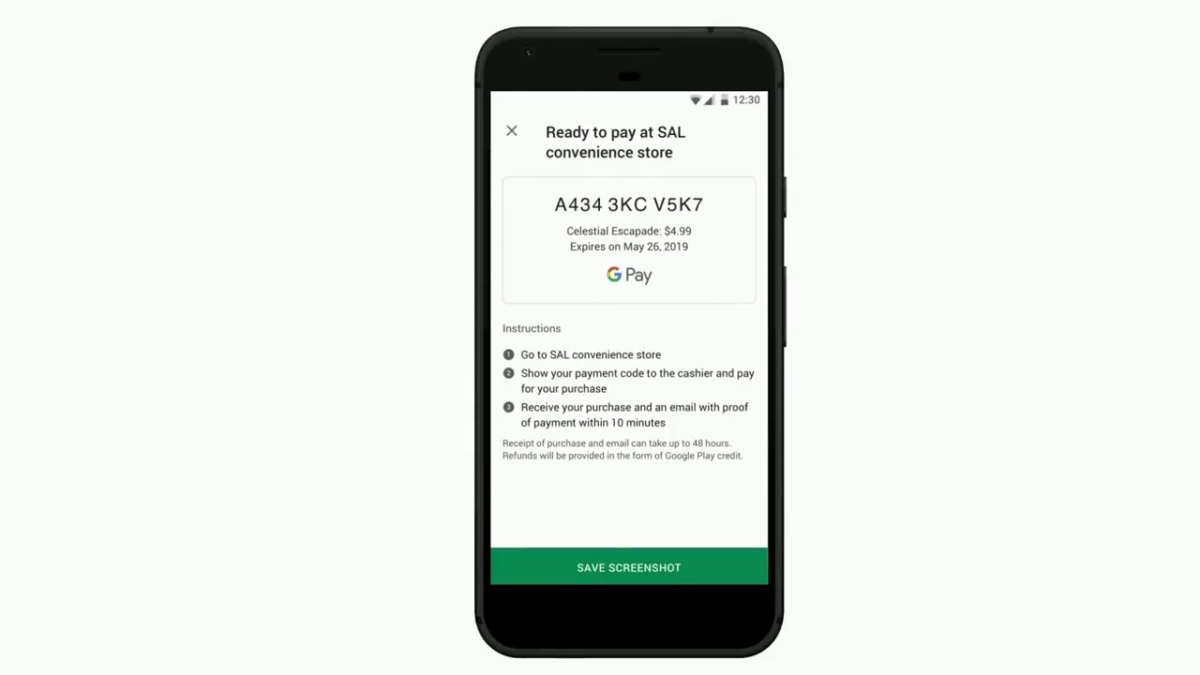 L'utilisateur reçoit un code qu'il doit présenter en boutiquepour effectuer son paiement