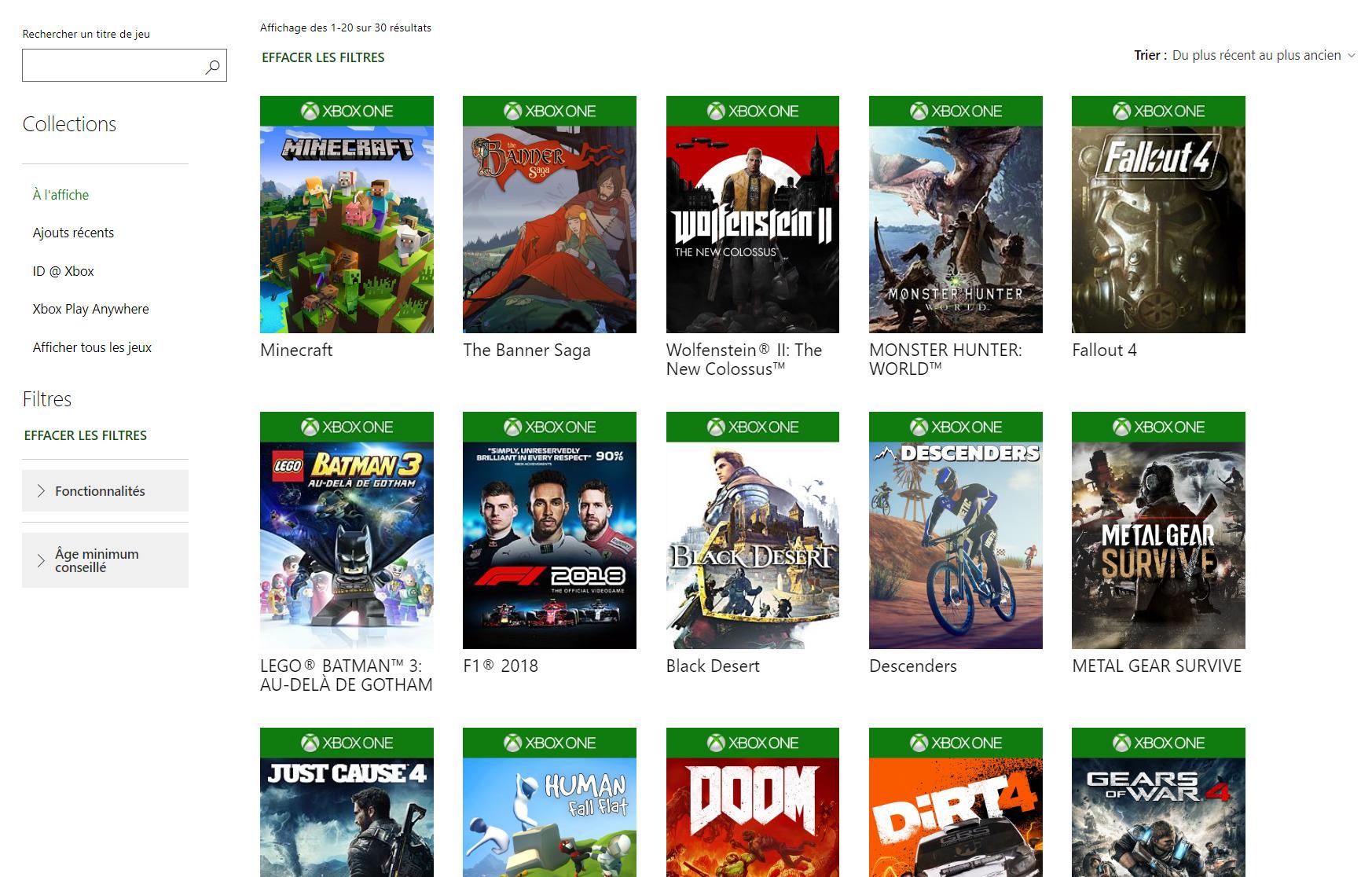 Extrait du catalogue Xbox Game Pass