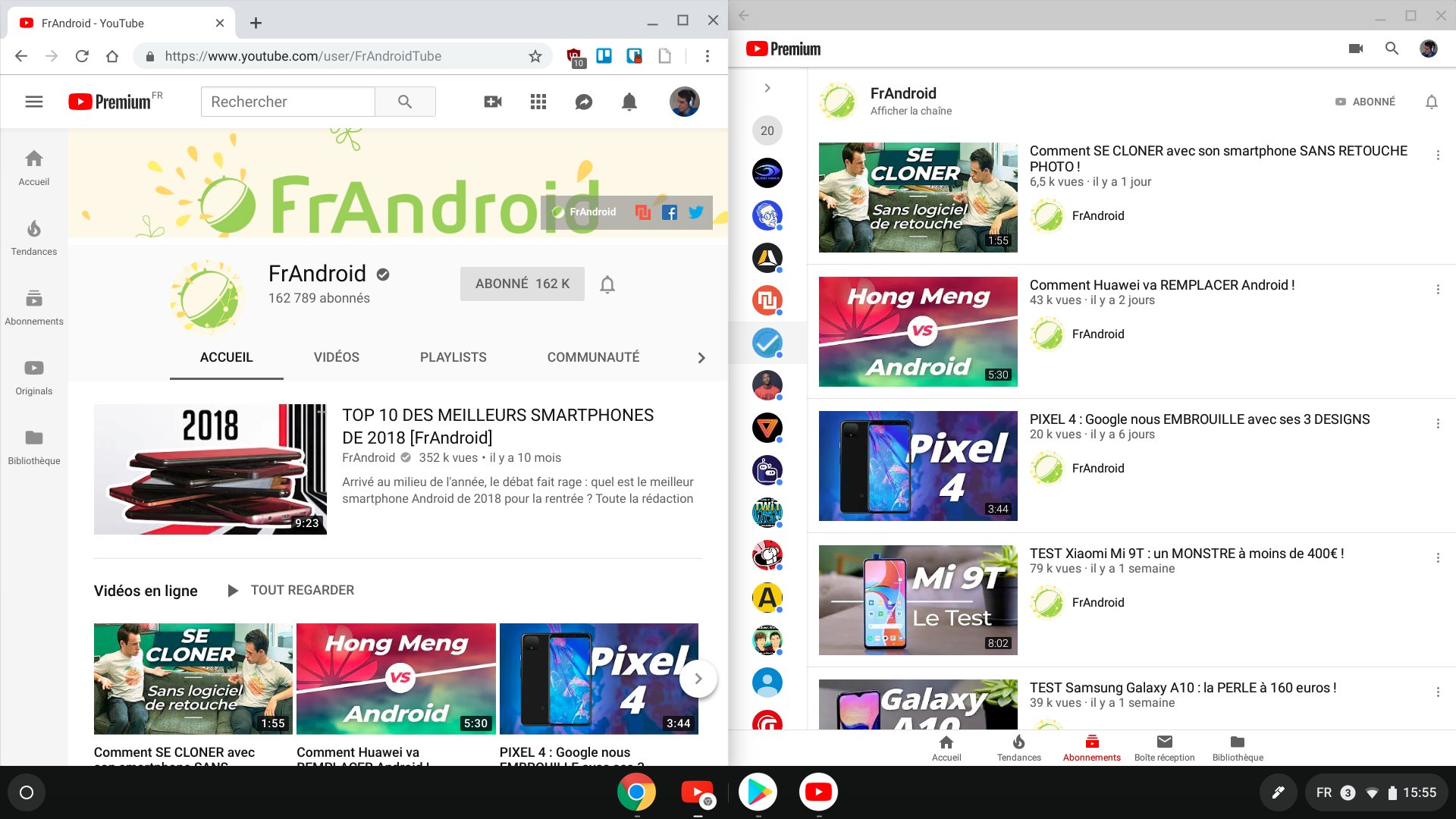L'application Chrome OS YouTube et l'application Android