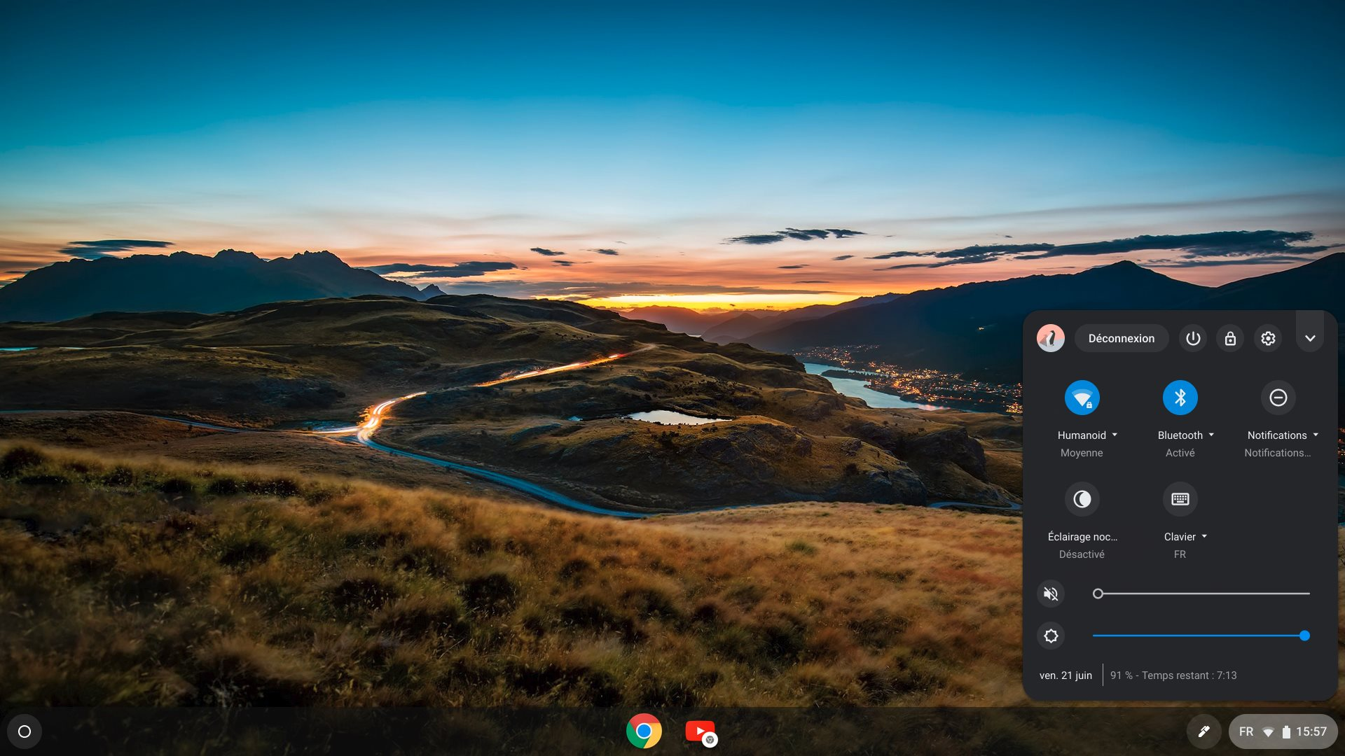 Le bureau par défaut de Chrome OS