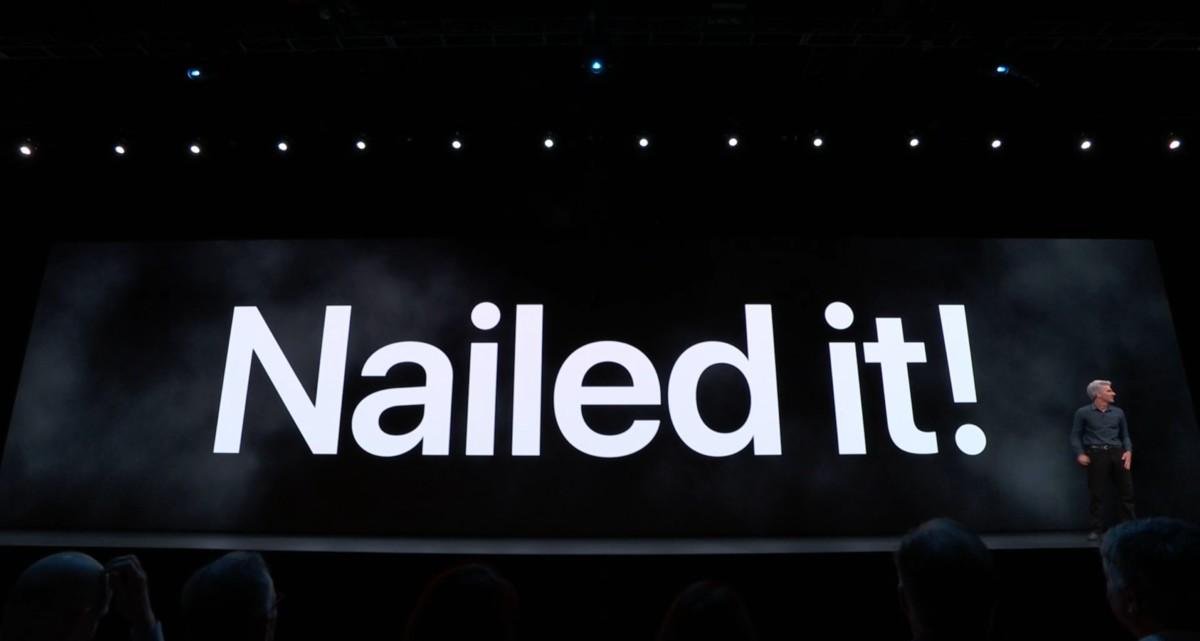 Craig Federighi à la WWDC 2019 devant l'écran «Nailed It»
