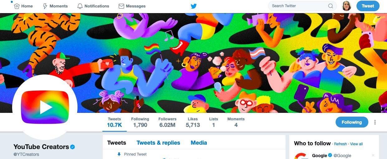 Le compte Twitter de YouTube affiche les couleurs LGBT+