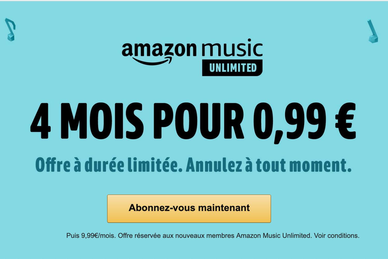 f3916c9a2c2e3 Jusqu'au 16 juillet, Amazon propose 4 mois d'accès à son service de  streaming musical à 0,99 euro au lieu de 39,96 euros. Cela vous permettra  de tester le ...
