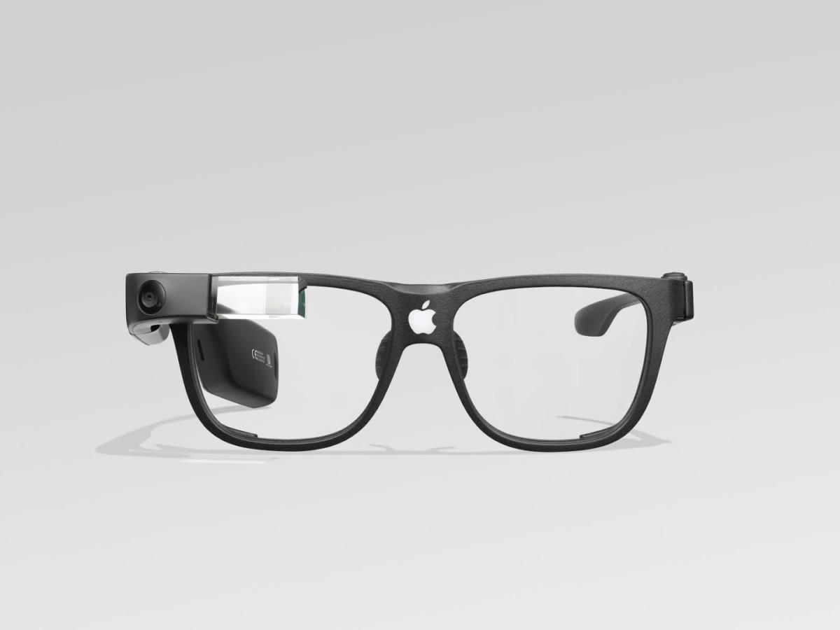 Des Google Glass avec un logo Apple dessus pour illustration.