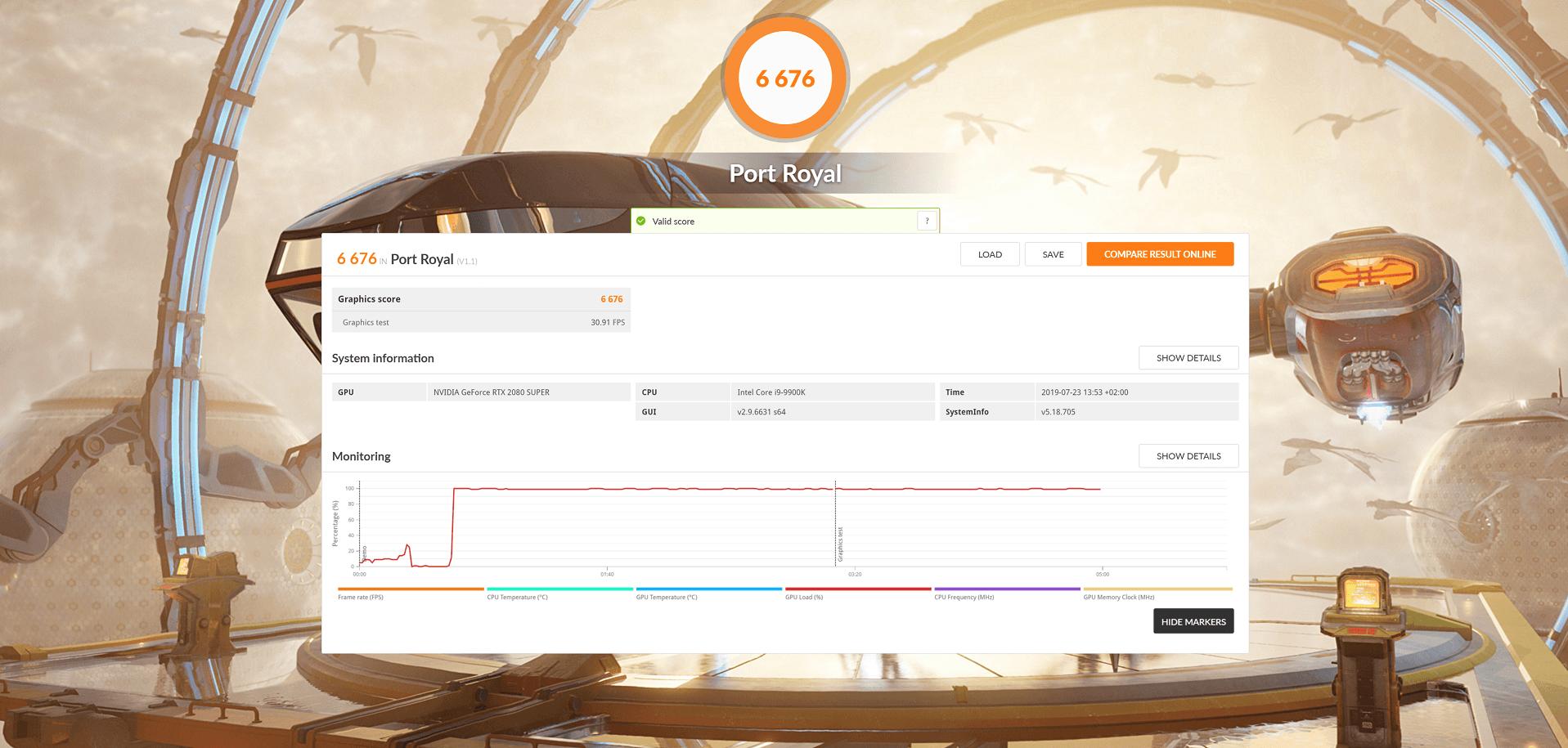 Les résultats de la RTX 2080 Super sous 3D Mark.