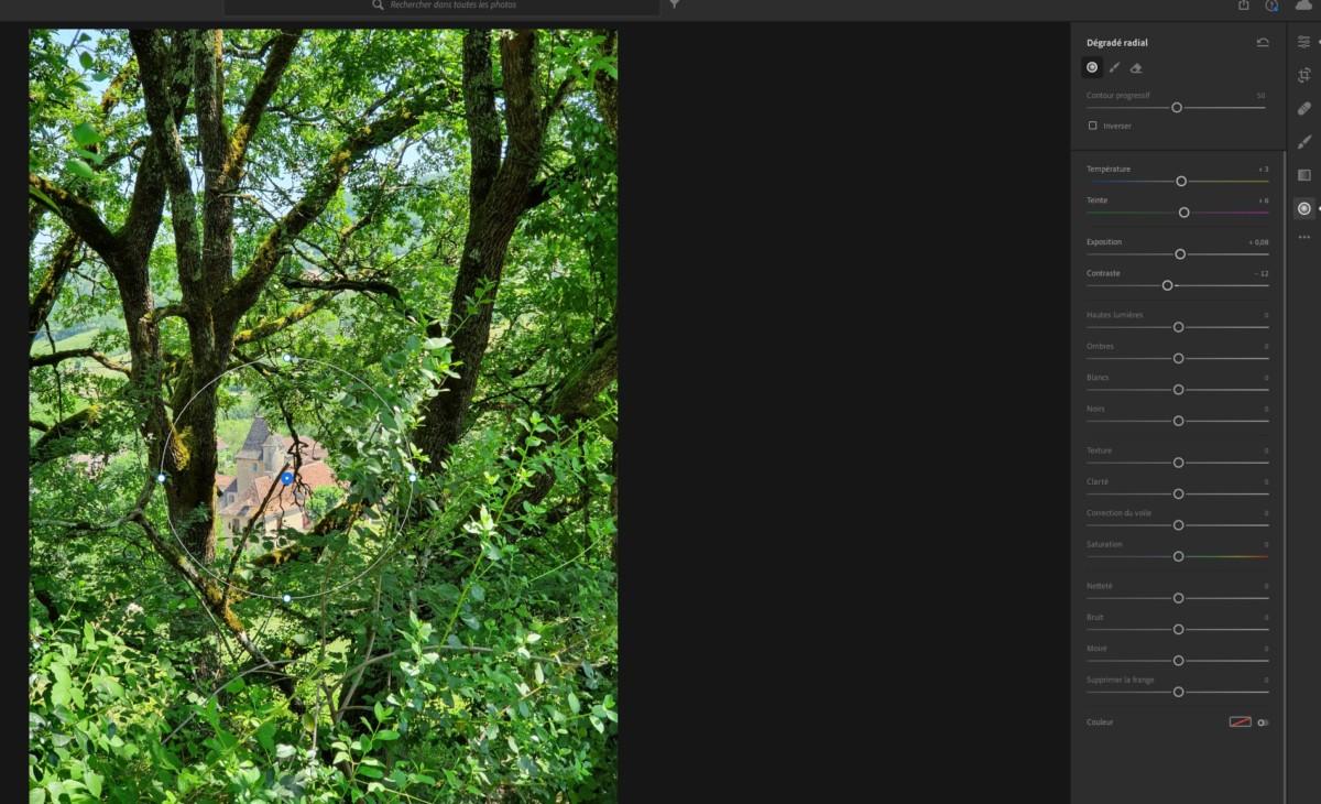 Si vous avez besoin de mettre en valeur un point précis de la photo, LightroomCC propose de nombreux outils pour les cibler et modifier précisément.