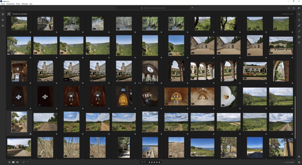 LightroomCC permet de faire facilement le tri dans ses photos en permettant par exemple de les noter pour mieux les trier.