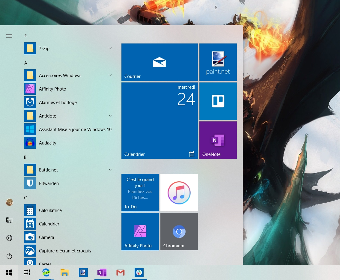 Le menu Démarrer dans la version actuelle de Windows 10