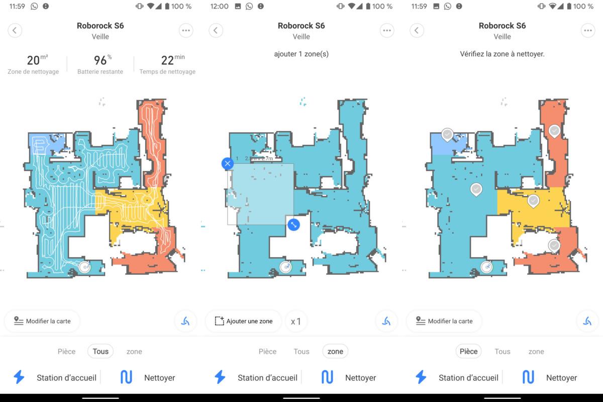 Depuis l'application Xiaomi Home, il est possible de retrouver la carte de son domicile, avec différentes pièces qu'il est possible de personnaliser. Pour un nettoyage localisé, l'application permet la création de zones.
