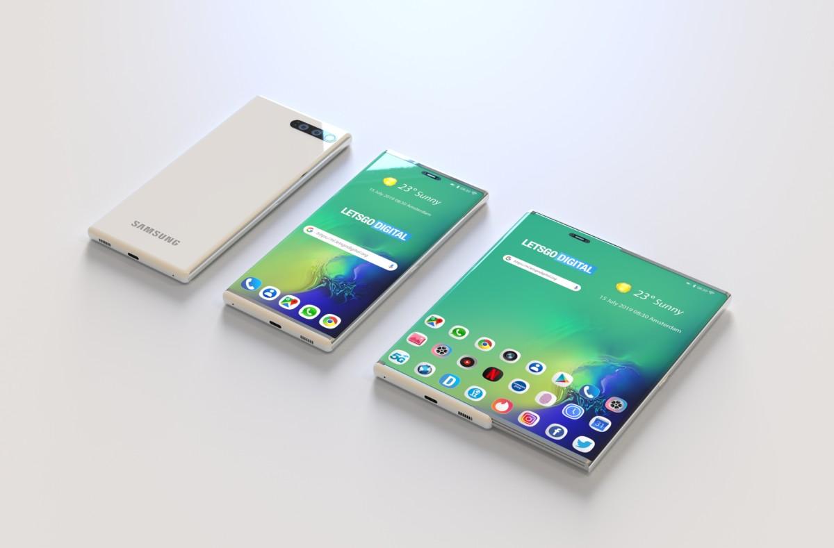 Le smartphone extensible de Samsung tel qu'imaginé par LetsGoDigital en se basant sur un brevet