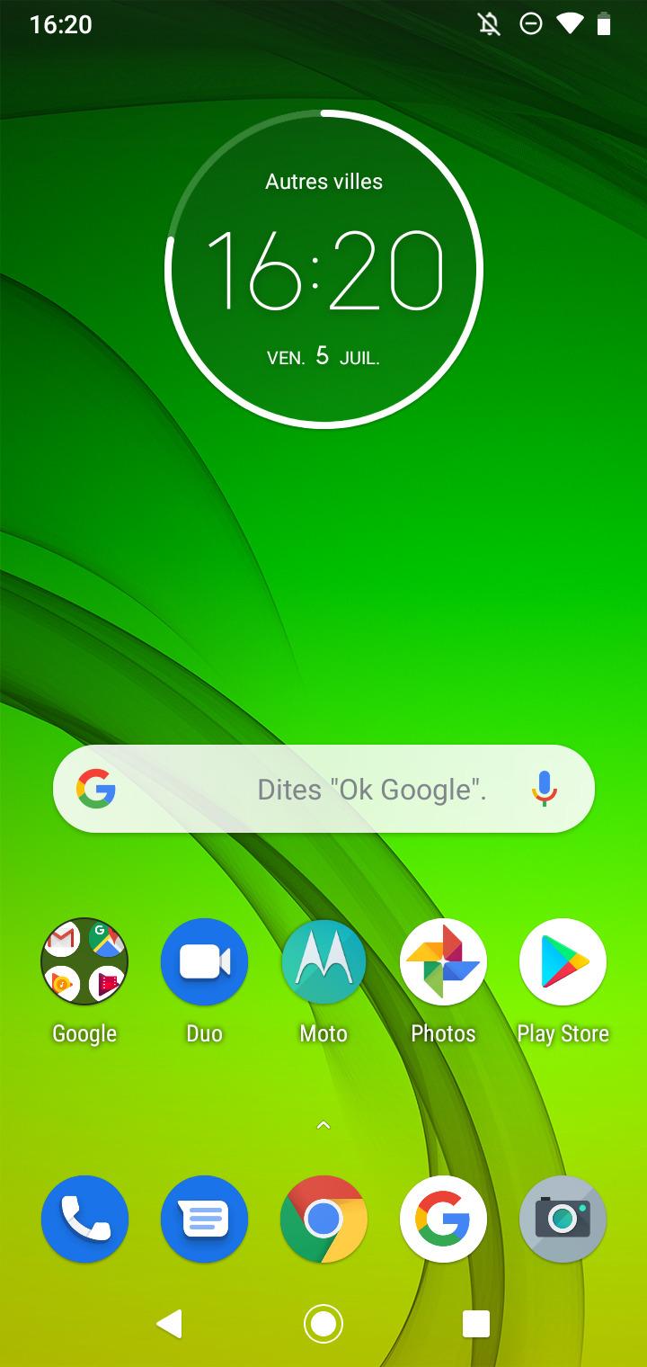 L'interface du Motorola Moto G7 Power est semblable à Android Stock