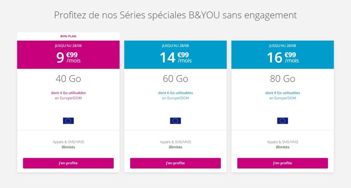 Forfait mobile : Bouygues Telecom réinitialise ses offres B&You sans engagement