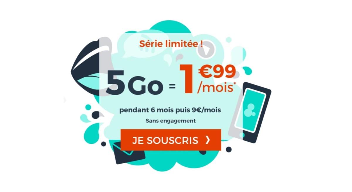 Ce forfait mobile 5 Go ne coûte que 1,99 euros par mois pendant une durée limitée