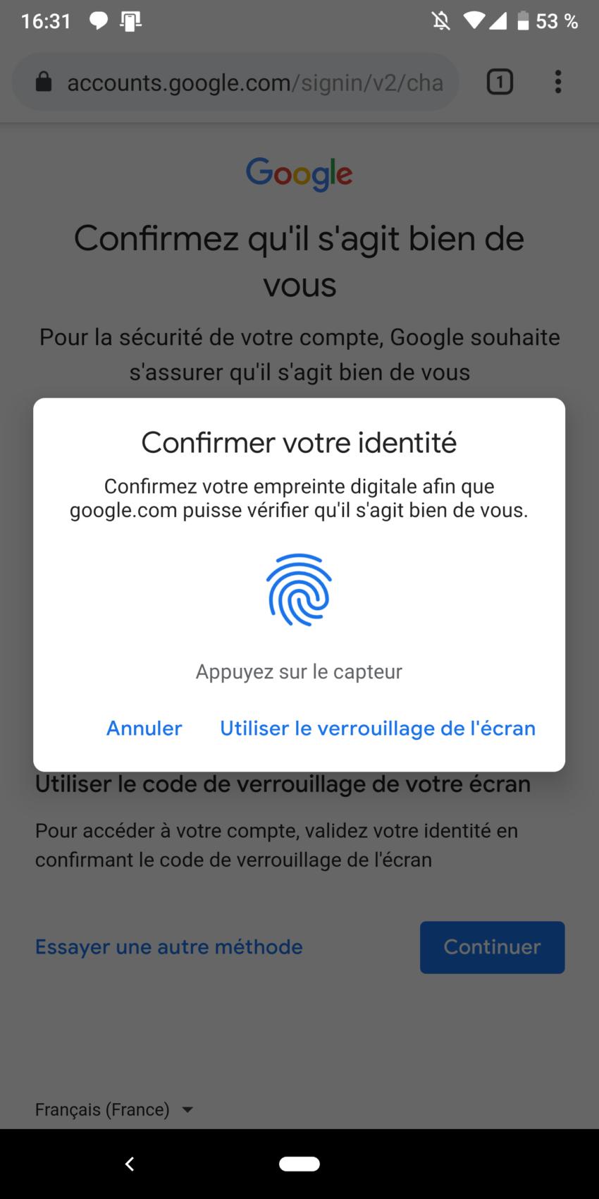Google vous permet de vous connecter sur leurs sites avec votre empreinte digitale