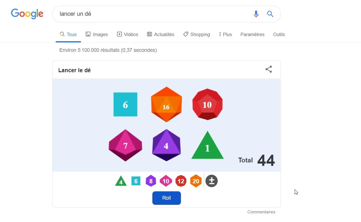 Google vous aide à lancer des dés : pratique pour vos parties de Donjons et Dragons