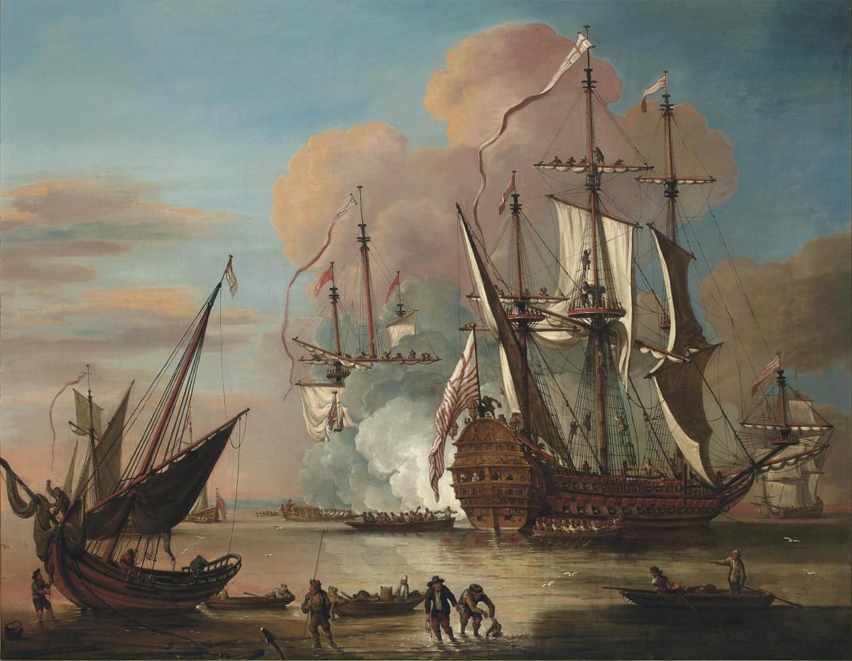 Tableau du peintre flamand Johann Baptiste Bouttats représentant un navire de la Compagnie britannique des Indes.