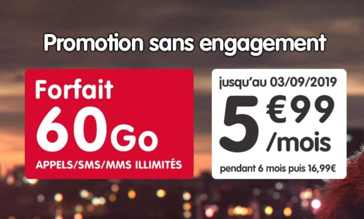 Forfait mobile : 60 Go pour 5,99 euros par mois pendant 6 mois, sans engagement